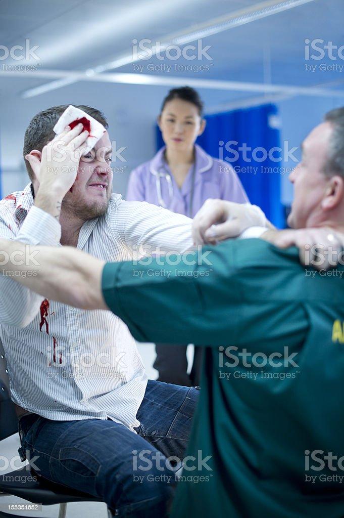 violence to hospital staff stock photo
