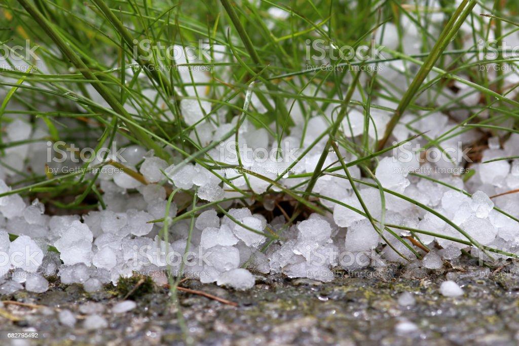 A violent, dangerous storm with hail stock photo
