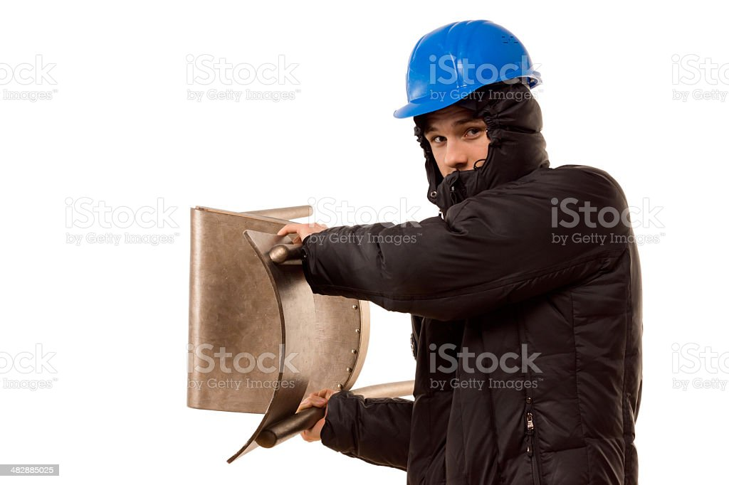 Violent hooligan brandishing a wooden chair stock photo