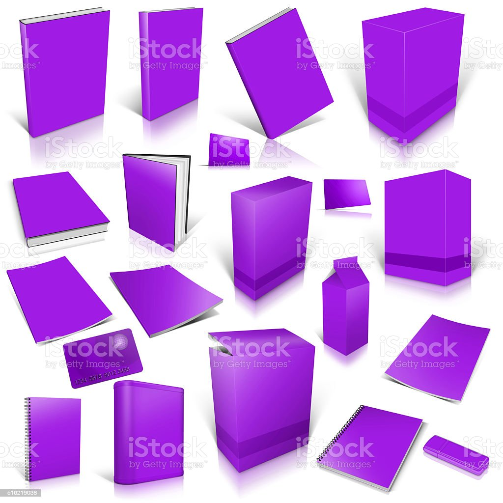 Violet 3d blank cover collection stock photo
