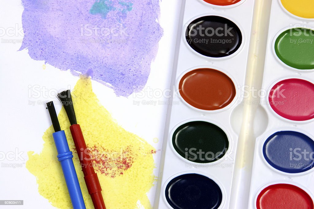 Violet and yellow watercolors stock photo