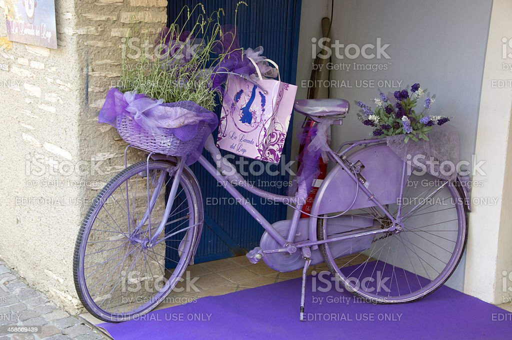 Violet bicycle for La Lavanda del Lago (lavender lake) stock photo
