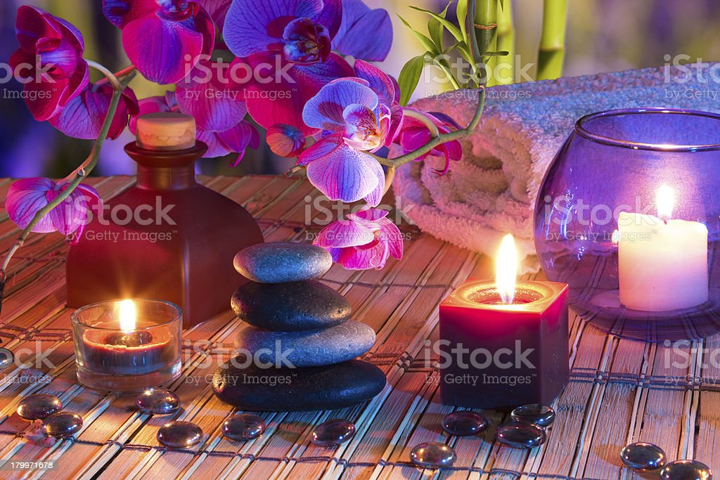 violet composition - for massage in bathroom royalty-free stock photo