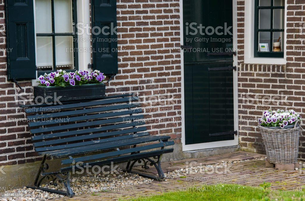 Violet Flowers at House stock photo