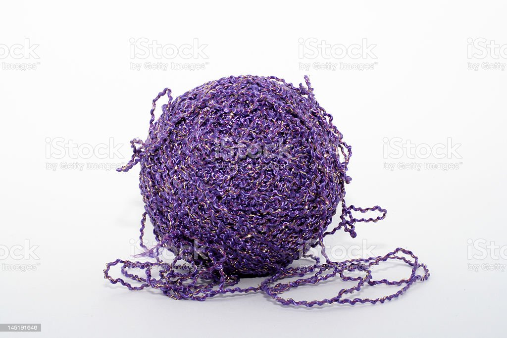 Violet knitting tread royalty-free stock photo