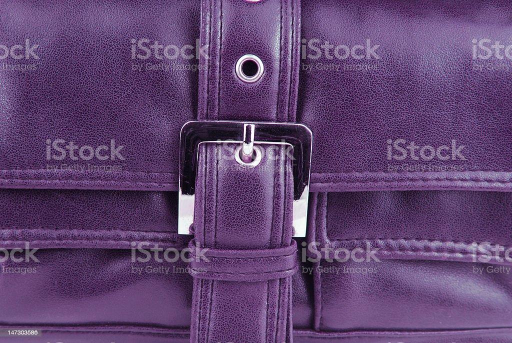 violet leather bag stock photo