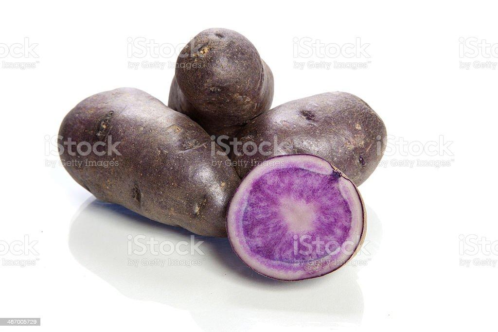 violet potatoes isolated on white background - vitelotte stock photo