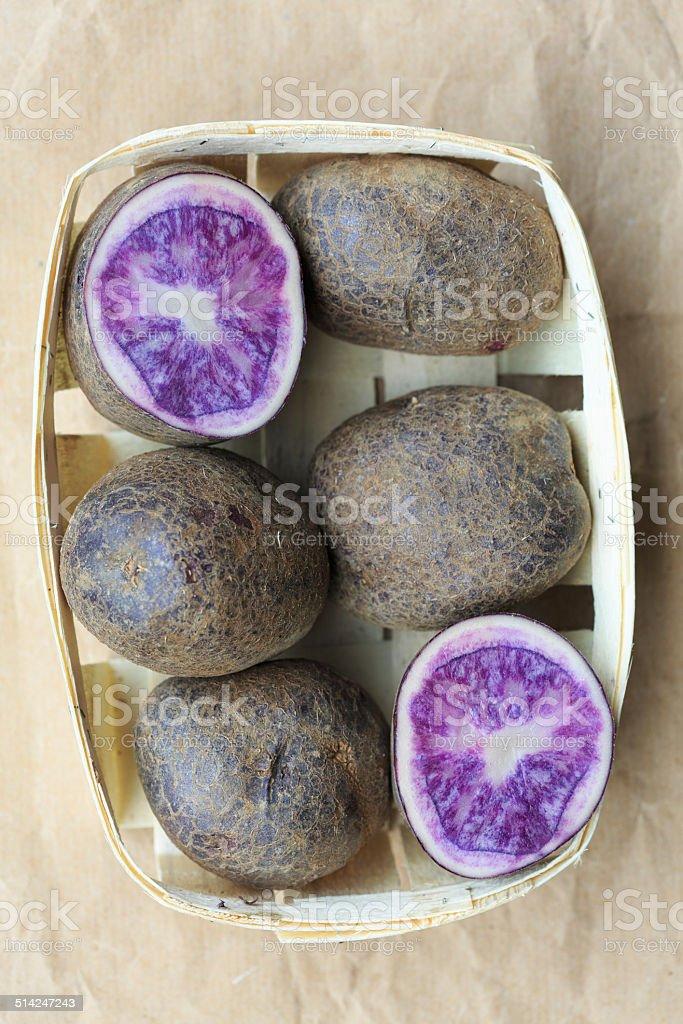 Violet potatoes stock photo