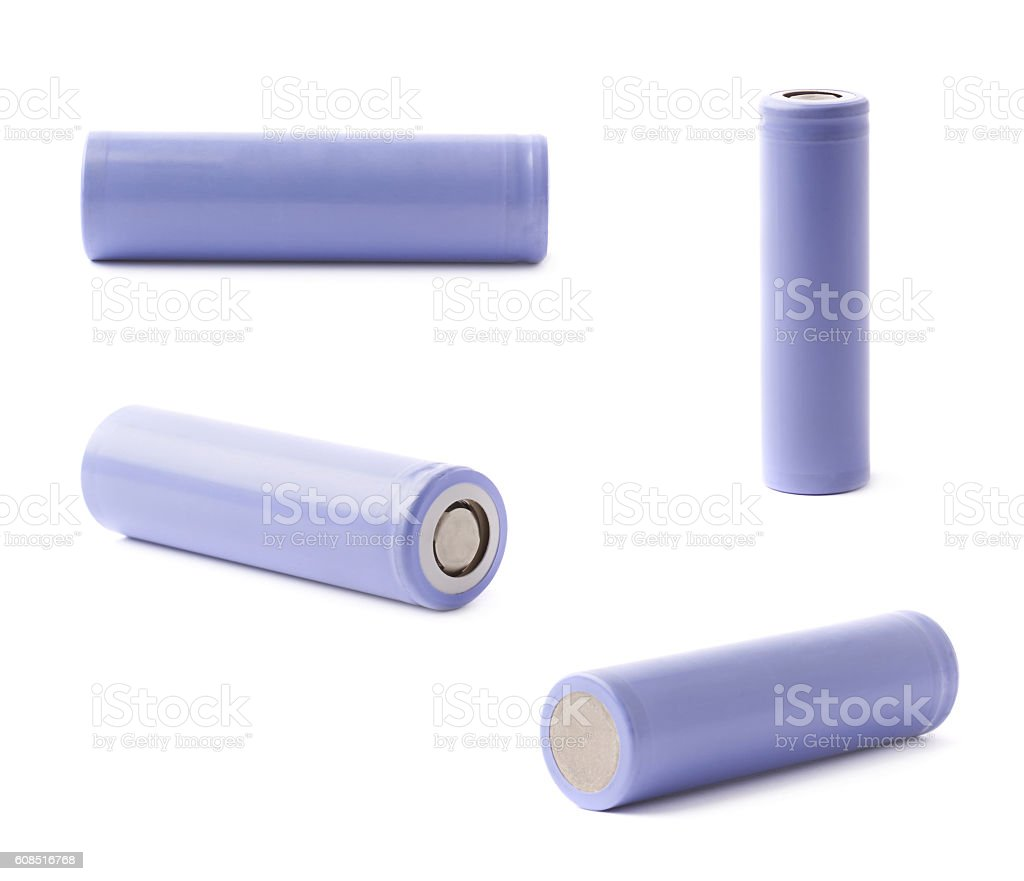 Violet rechargeable battery isolated stock photo