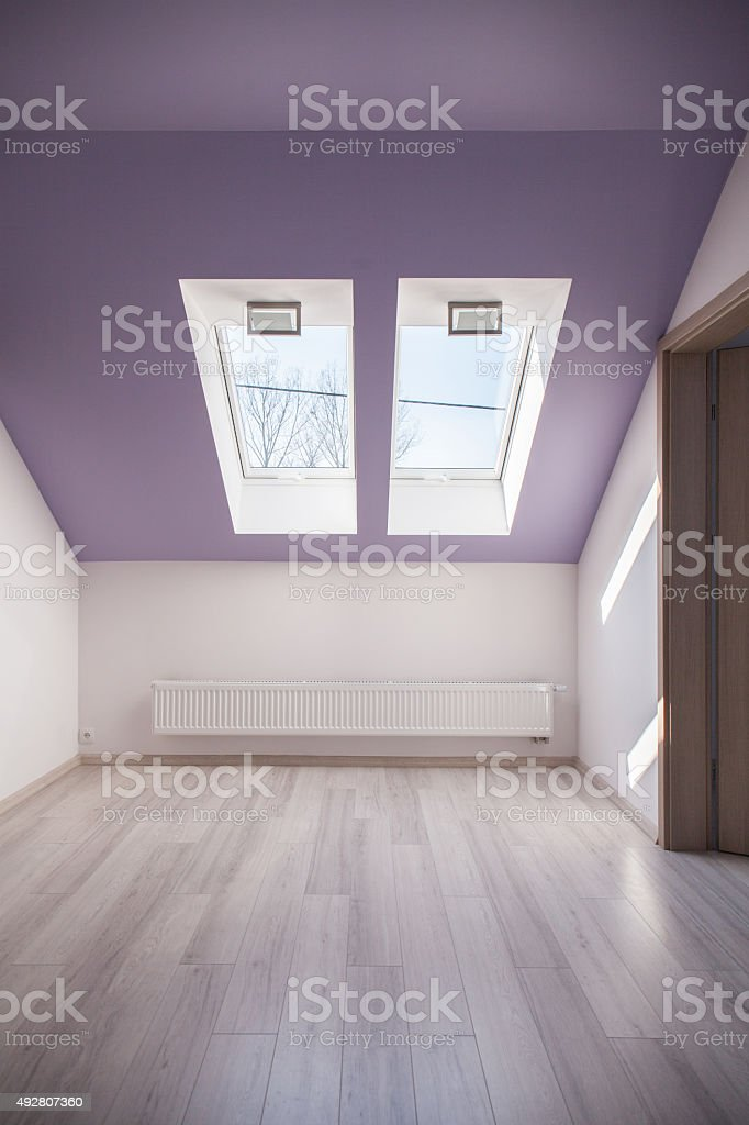 Violet slanted ceiling stock photo