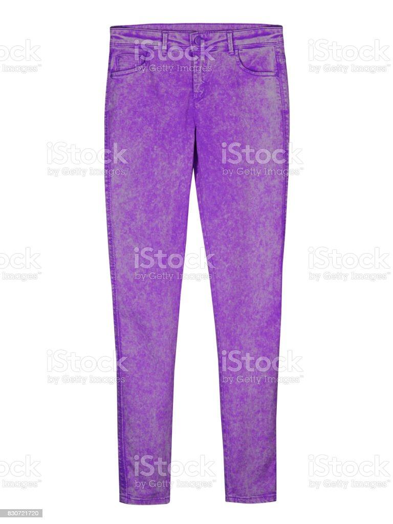 Violet tight slim woman denim trousers pants leggins isolated on white stock photo