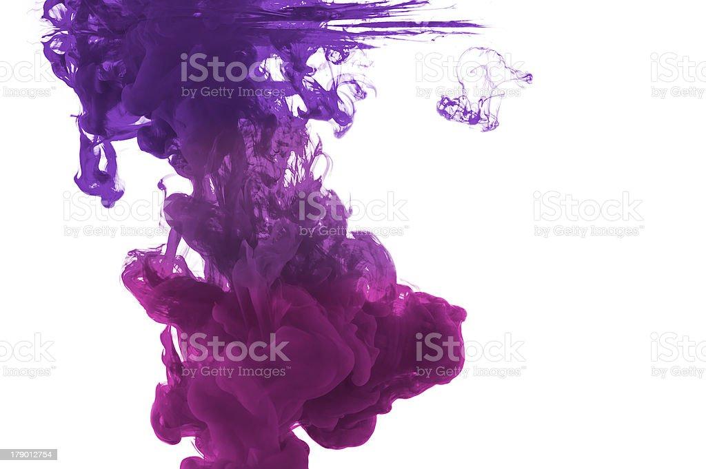 violett ink gradient in water stock photo