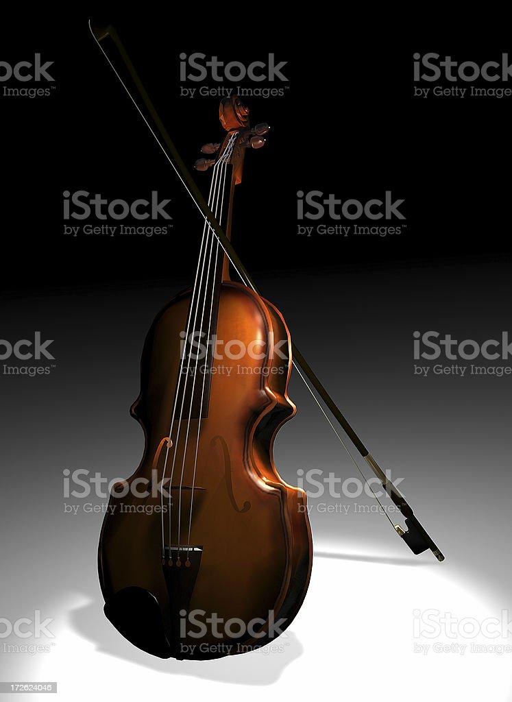 Violin alone in the dark royalty-free stock photo