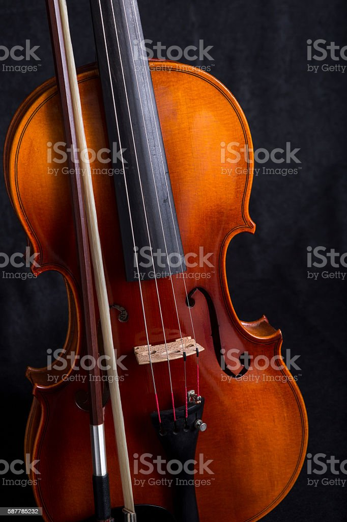 Violin and Bow on black Background stock photo