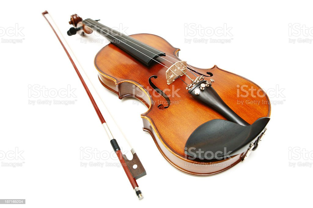 Violin and Bow on White Background royalty-free stock photo