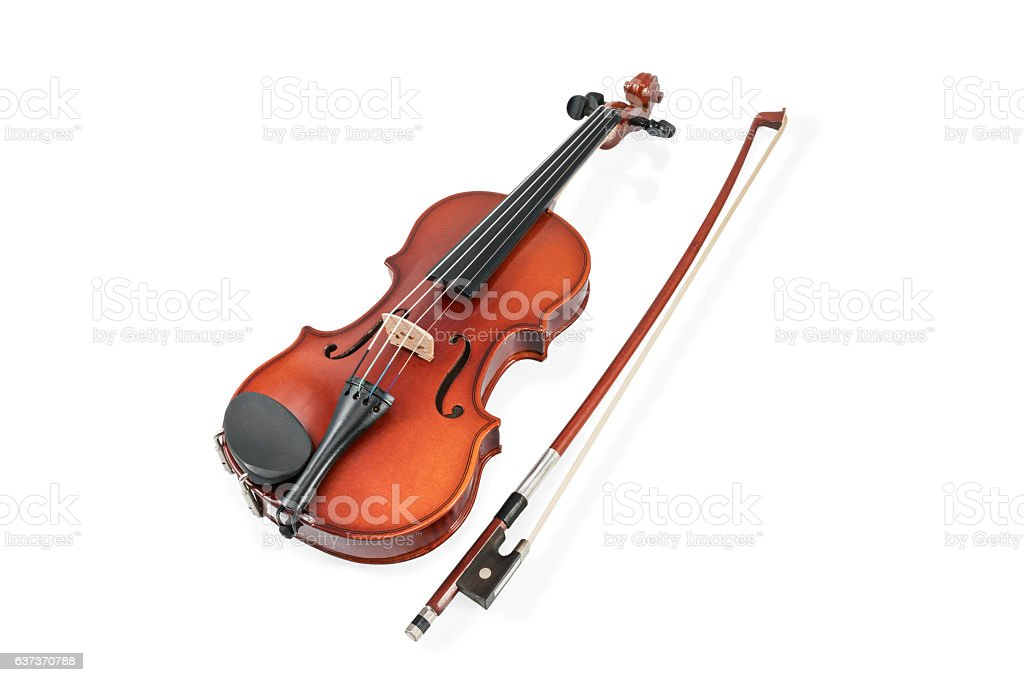 Violin and bow on white stock photo
