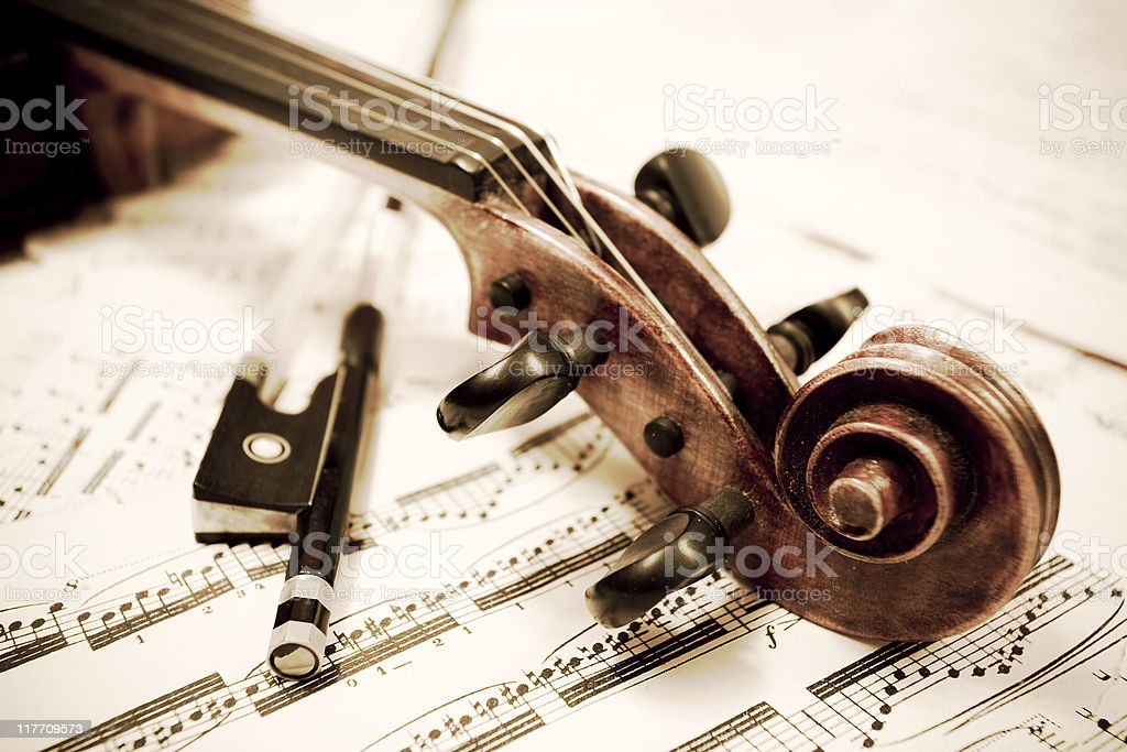 Violin and bow royalty-free stock photo