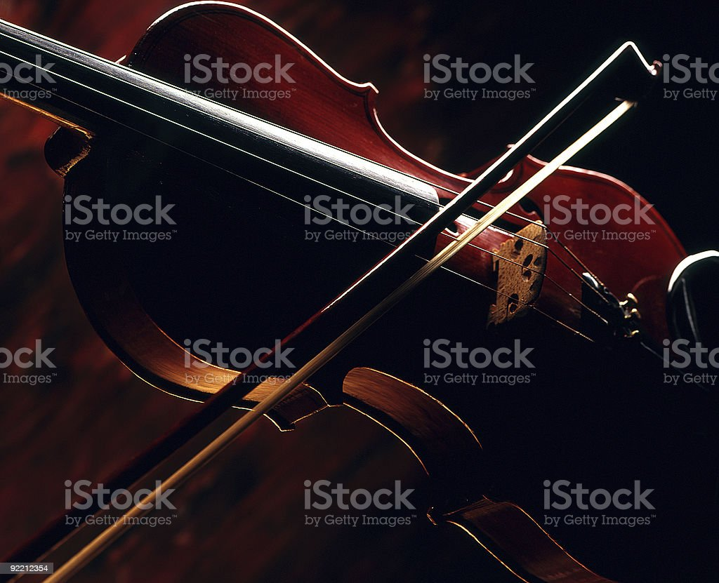 Violin and bow. stock photo