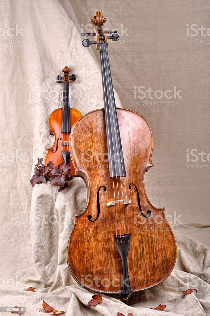 violin and cello on the beige background stock photo