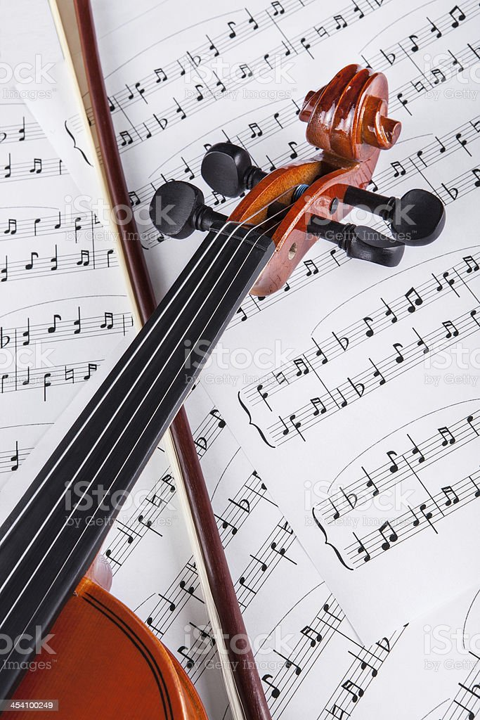 Violin And Musical Notes stock photo
