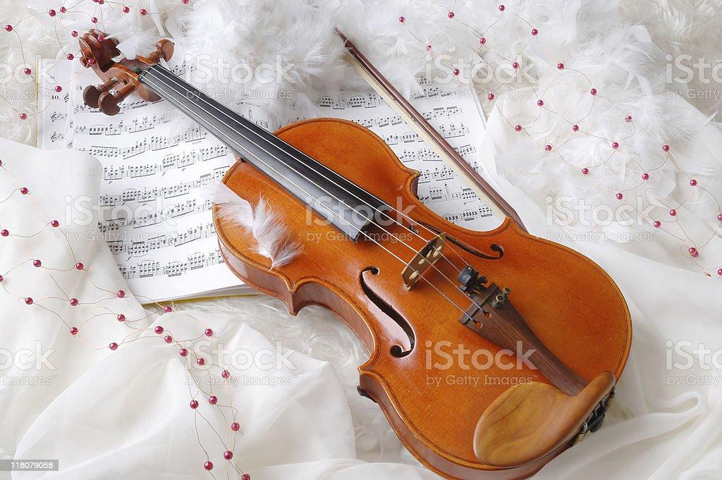Violin and notes stock photo