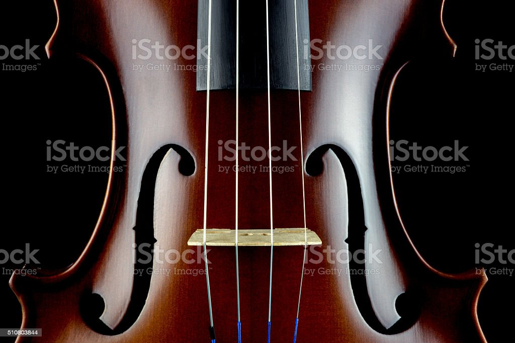 Violin Body Middle Section View on a Black Background stock photo
