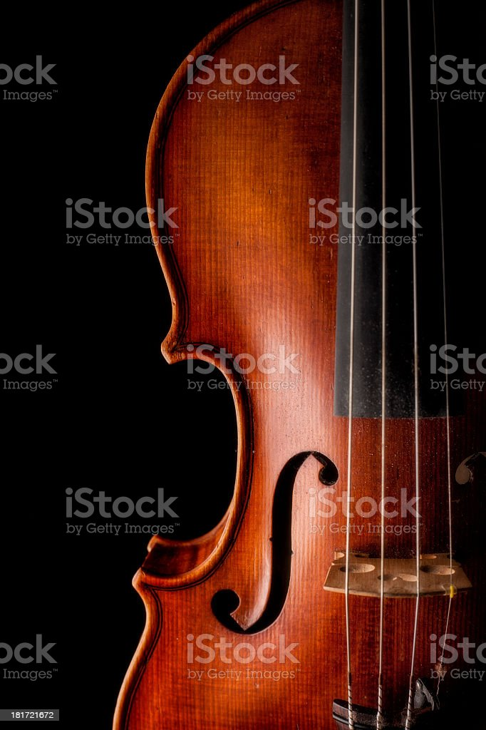 Violin close up on dark background stock photo