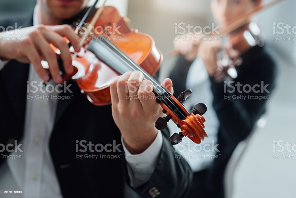 Violin duet performance stock photo