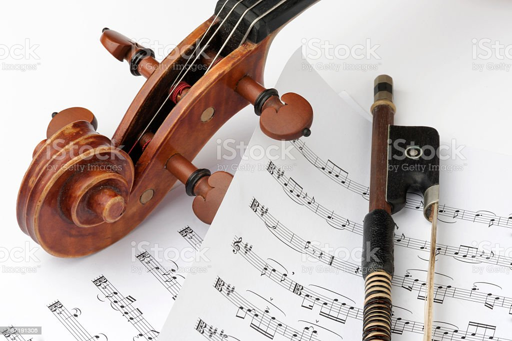 Violin Family with Bow stock photo