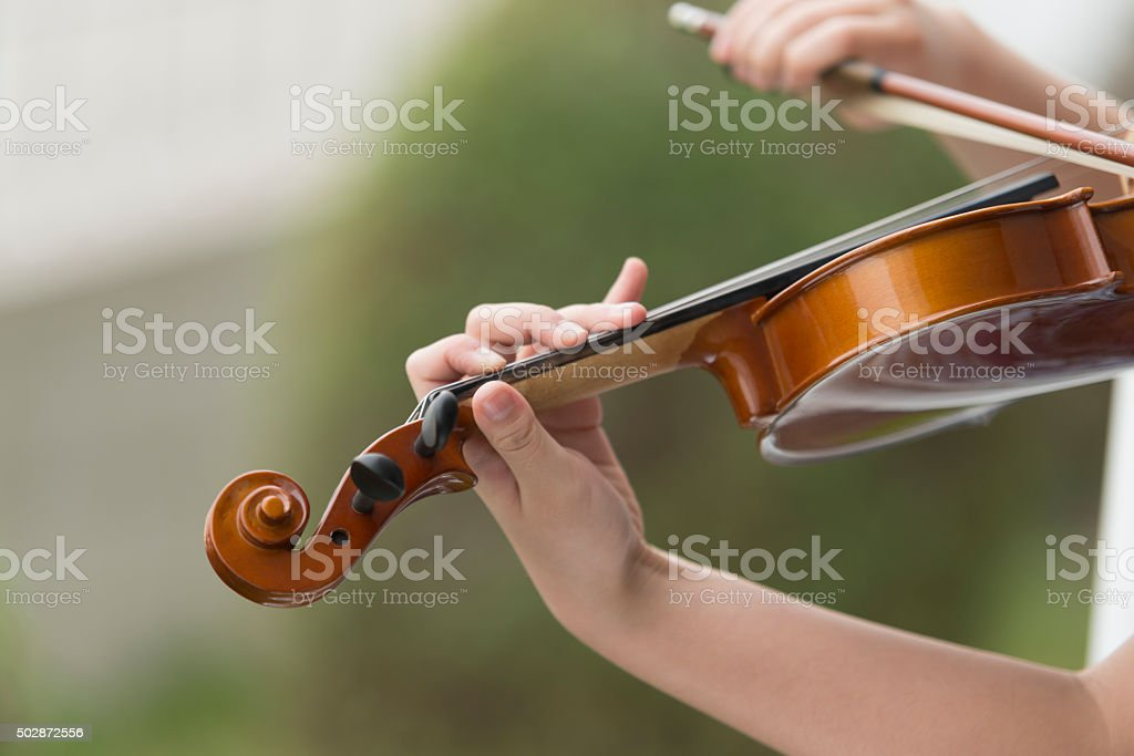 Violin Fingers and Fingerboard stock photo