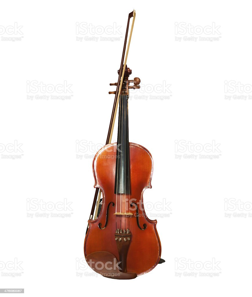 Violin front view isolated on white royalty-free stock photo