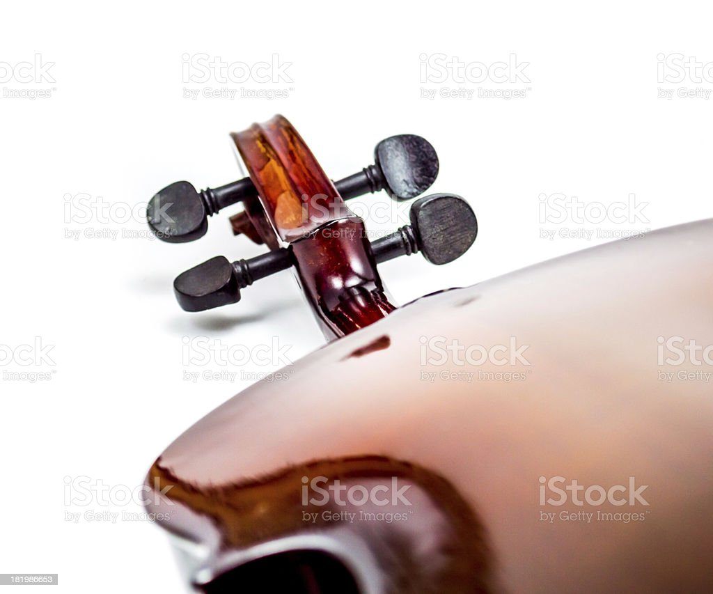 Violin head, scroll back side royalty-free stock photo