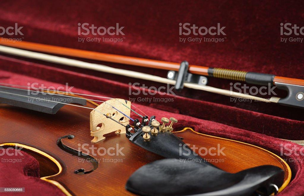 Violin in case. stock photo
