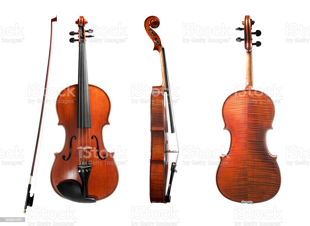 Violin, isolated on white, series stock photo