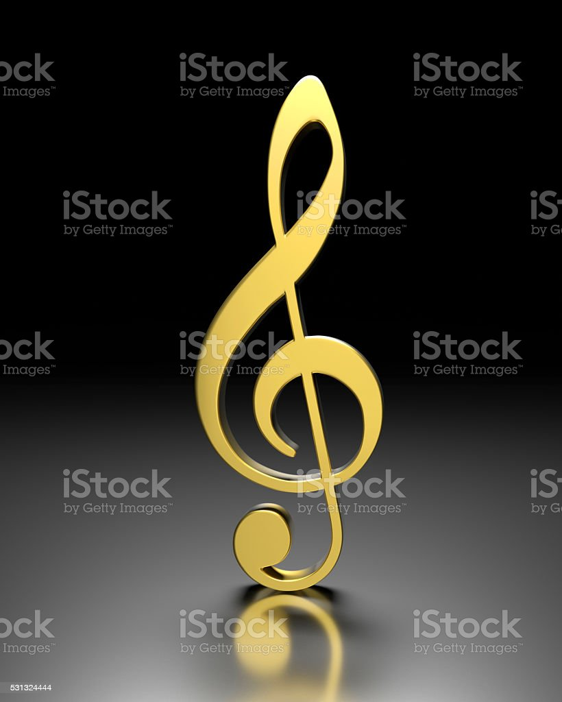 3D violin clef stock photo