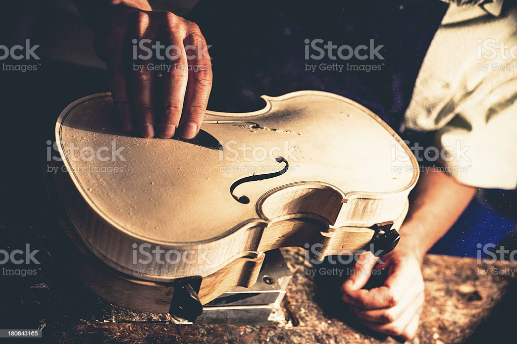 Violin Maker in Cremona, Italy stock photo