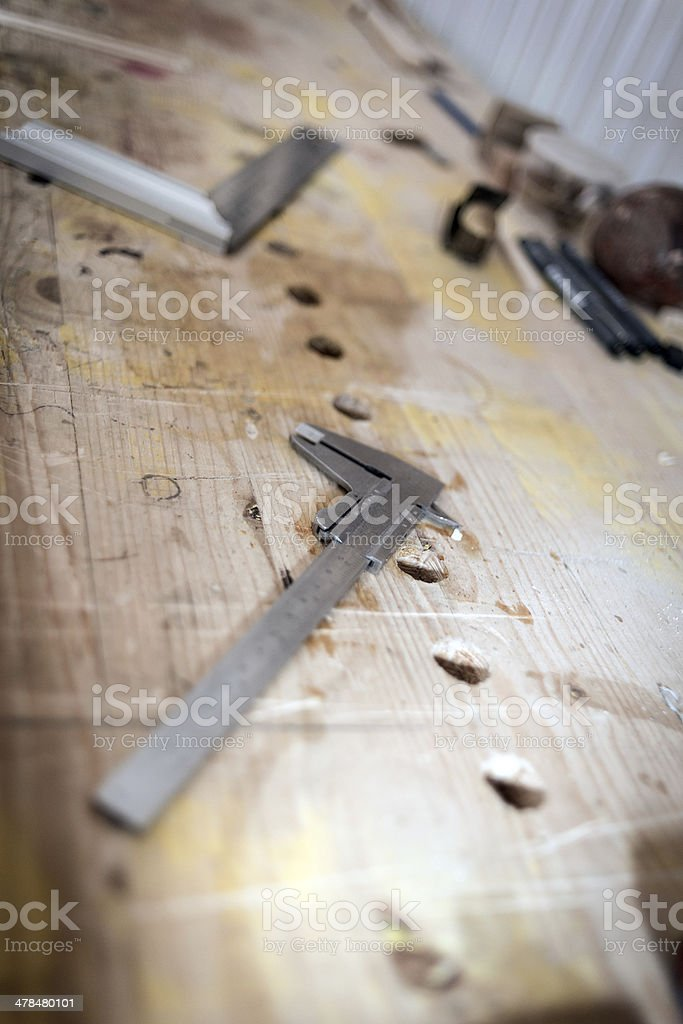 Violin maker laboratory stock photo