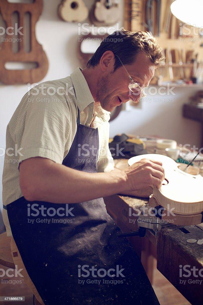 Violin Maker stock photo