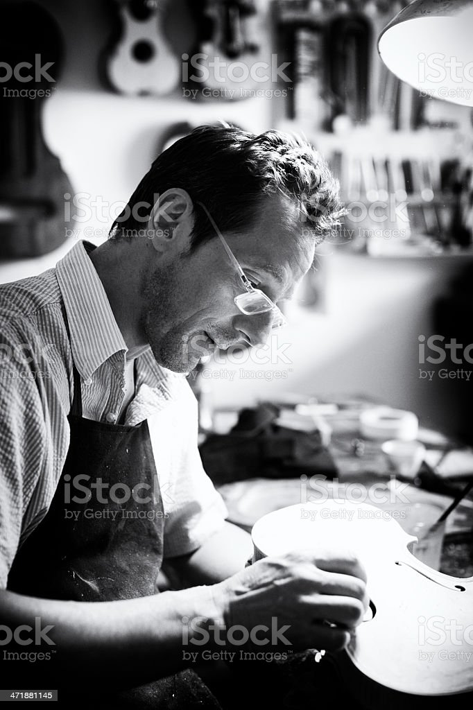 Violin Maker stock photo