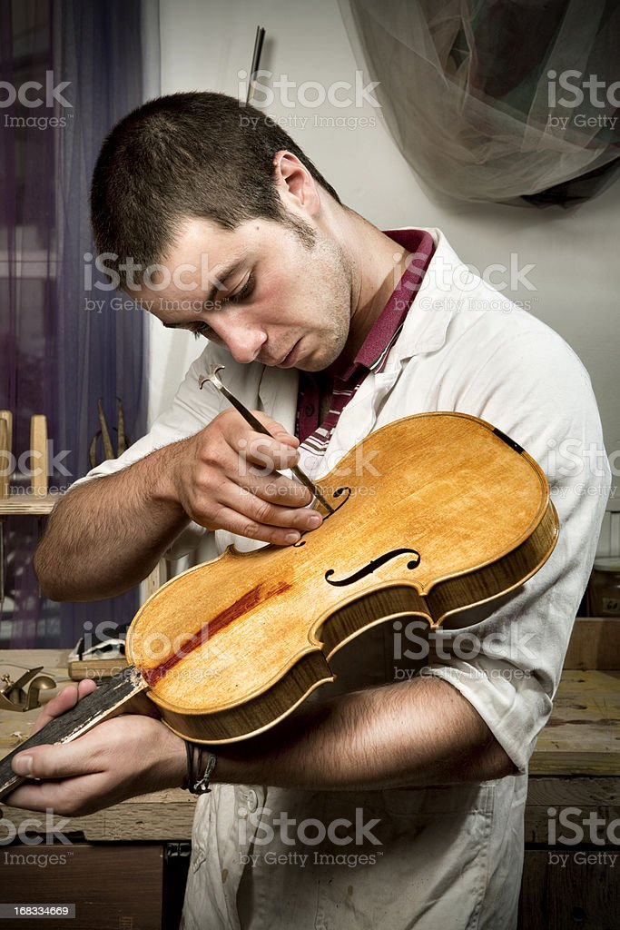 Violin maker portrait royalty-free stock photo