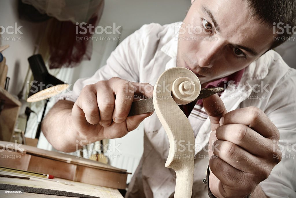 Violin maker portrait royalty-free stock photo