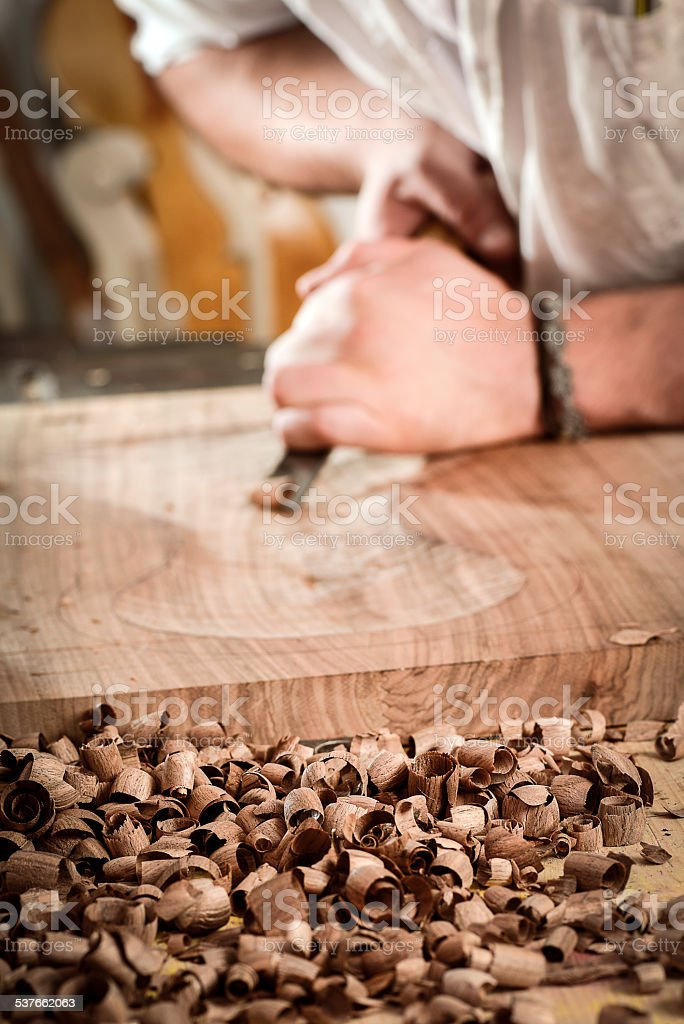 Violin maker portrait stock photo