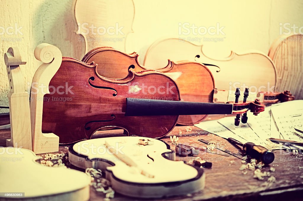 Violin Maker's Table royalty-free stock photo