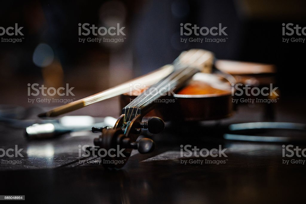 Violin music instrument of orchestra stock photo