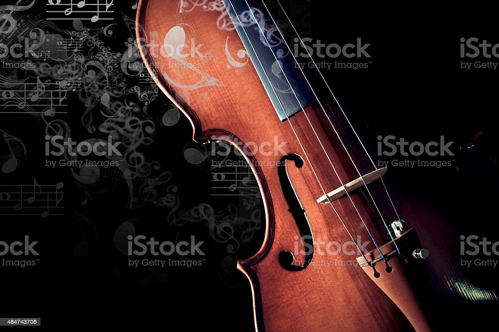 classical violin & music note floating on background isolated on black