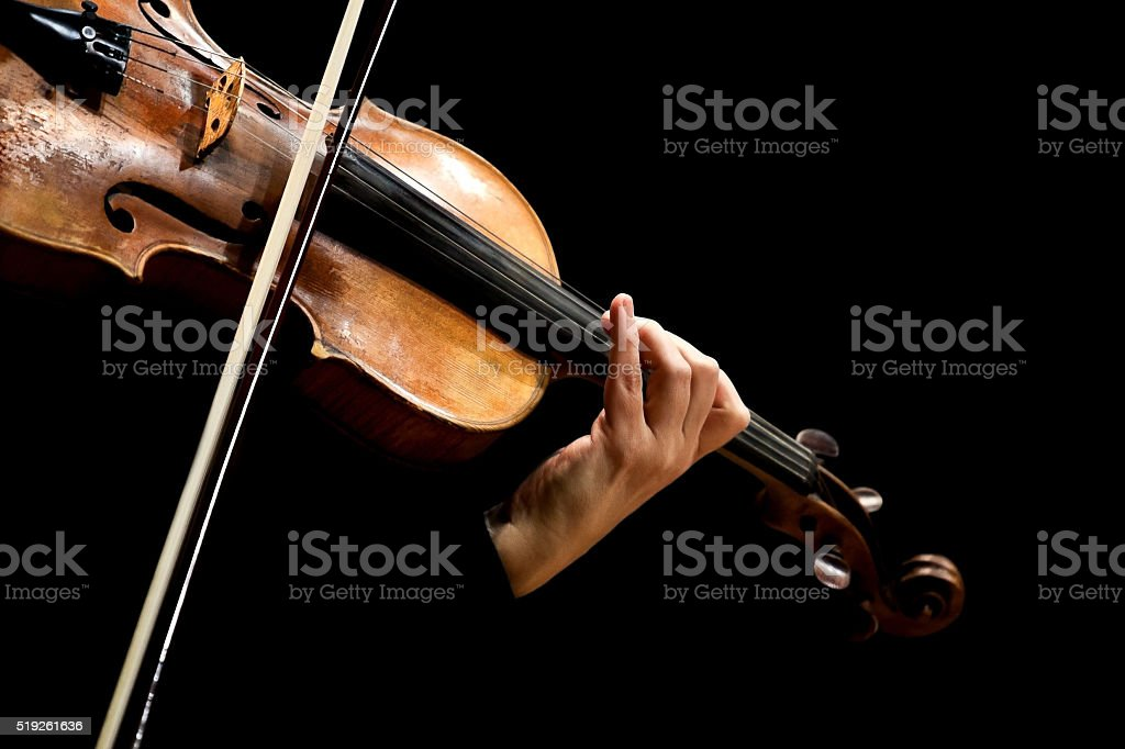 Violin musician in his hands stock photo