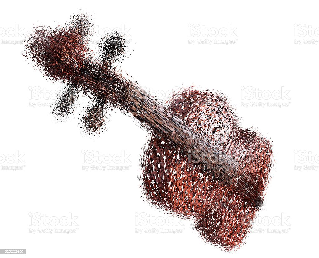 violin of the particles on a white background 3d render stock photo