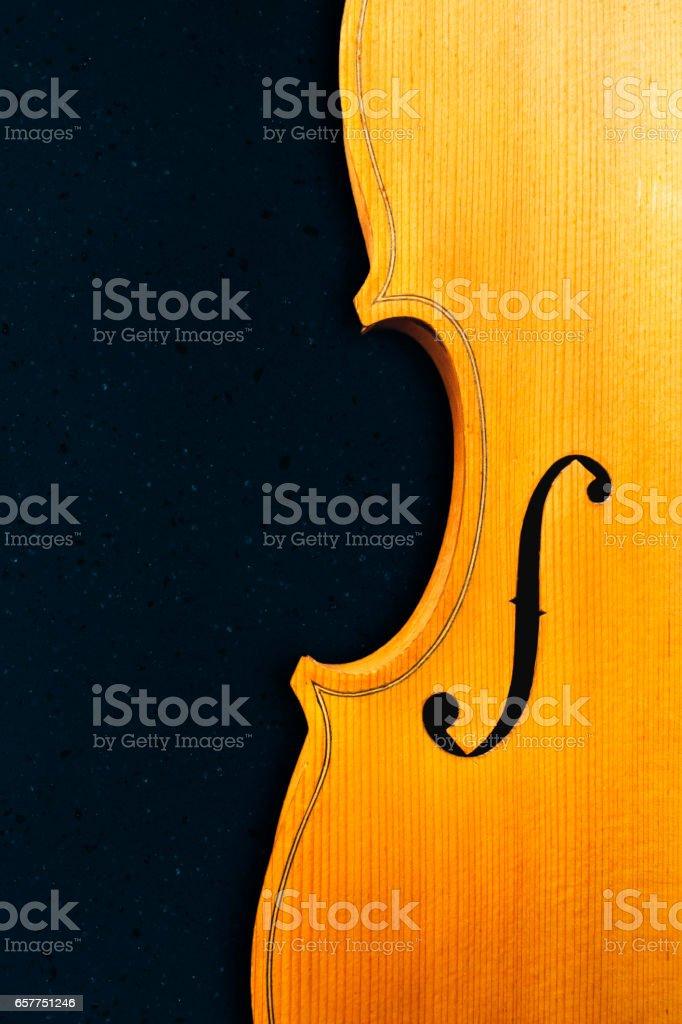 Violin on a dark background stock photo