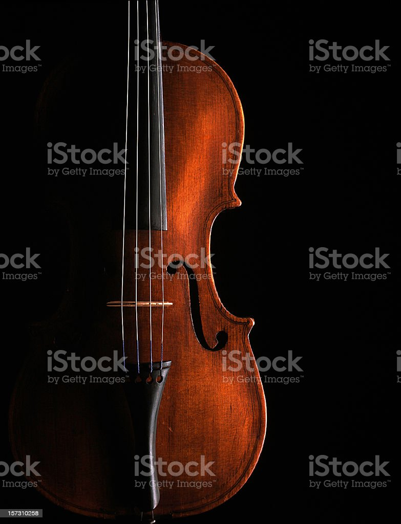 Violin on black background stock photo