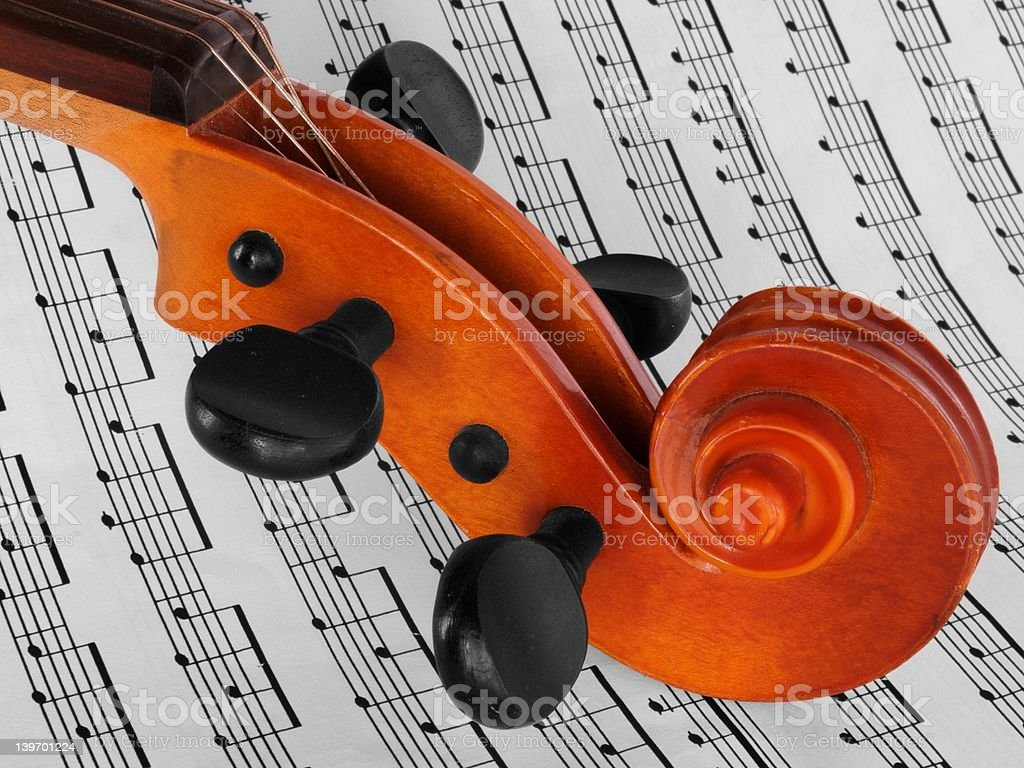 Violin on notes stock photo